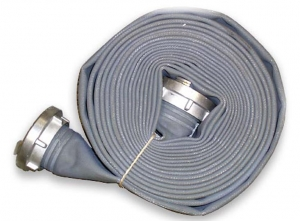 "4 ""fire hose of 40% linen and 60% polyester with rubber core. Stortz fitting. 18 meters."