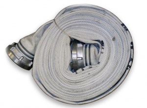 "4 ""fire hose of 40% linen and 60% polyester with rubber core. Stortz fitting. 15m."